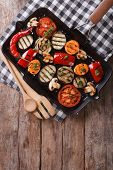 image of grill  - summer grilled vegetables in a pan grill - JPG