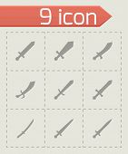 picture of longsword  - Vector sword icon set on grey background - JPG