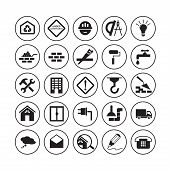 stock photo of truck-stop  - Simple round flat building icons - JPG