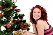 Christmas Tree, Young Happy Woman.