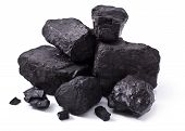 picture of combustion  - pile black coal isolated on white background - JPG