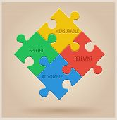 pic of puzzle  - Four Colourful Puzzle Pieces - JPG