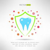 picture of molar tooth  - Tooth in a shield icon - JPG