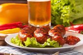 pic of grilled sausage  - Grilled sausage on a plate - JPG
