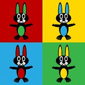 stock photo of hare  - Pop art hare symbol icons - JPG
