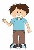 picture of nonverbal  - Smiling cartoon boy isolated on white background - JPG