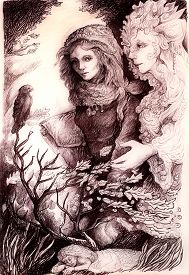 picture of monochromatic  - A beautiful detailed monochromatic drawing of fantasy scenery of a young girl in autumn walk conversation with her elven fairy friend wind bird and leaves and all around - JPG