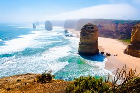 foto of nationalism  - The Twelve Apostles a famous collection of limestone stacks off the shore of the Port Campbell National Park by the Great Ocean Road in Victoria Australia - JPG