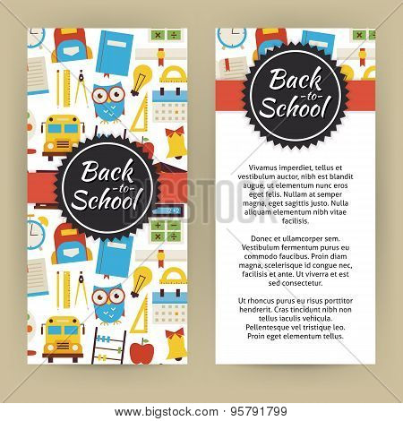 Vector Flyer Template Of Flat Design Back To School And Education ...