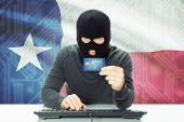 stock photo of texans  - Hacker with US state flag on background  - JPG