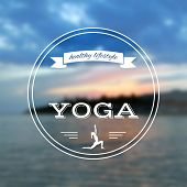Постер, плакат: Name of yoga studio on a sunset background