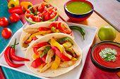 picture of poblano  - Chicken fajitas tacos mexican food guacamole pico de gallo chili peppes sauces - JPG