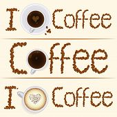 Постер, плакат: Collection of three vintage coffee banners in different styles