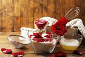 image of egg whites  - Making candied rose flower petals with egg whites and sugar - JPG