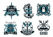 image of lighthouse  - Retro nautical heraldic emblems and badges with marine anchors - JPG