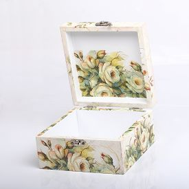 stock photo of decoupage  - floral pattern box decorated with decoupage paper handmade - JPG