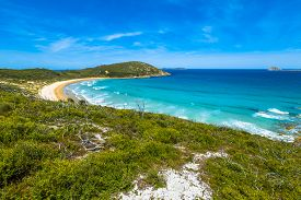 picture of promontory  - Top view of Squeaky Beach in Wilsons Promontory National Park - JPG