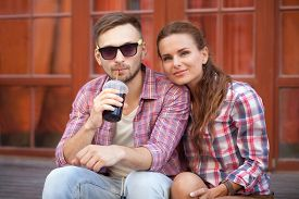 picture of coca-cola  - Happy couple enjoying in European country - JPG