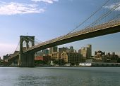 stock photo of brooklyn bridge  - view of the brooklyn and brooklyn bridge - JPG