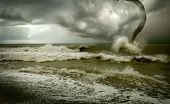 picture of atlantic ocean  - ocean tornado storm  - JPG