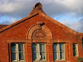 stock photo of corbel  - close-up of the top of the historic Lackawanna Railroad station in Binghamton NY