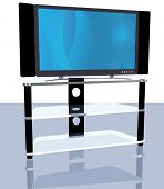 pic of high-def  - Illustration of a bright abstract picture on an HDTV on stand - JPG