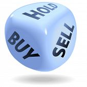 Постер, плакат: Голубой кости символ торговли ценными бумагами фондовый рынок rolls покупать продавать или держать