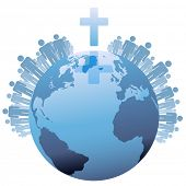 foto of northern hemisphere  - All people of the world or the  Global Christian Population of Earth under a Cross - JPG