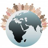 stock photo of eastern hemisphere  - Many diverse people stand on the Western Hemisphere as symbols of the Population of Earth - JPG