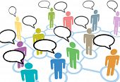 picture of social system  - A group of diverse people talk in social media speech communication network connections - JPG