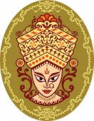 stock photo of kali  - Durga Indian Goddess ornamental face - JPG