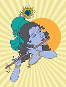 picture of mahabharata  - Lord Krishna playing flute - JPG