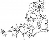 picture of mahabharata  - Calligraphic Lord Krishna - JPG