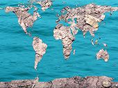 Global Map Dry And Flooded Earth poster