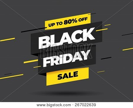 poster of Black Friday Sale Inscription Design Template. Black Friday Banner. Vector Illustration.