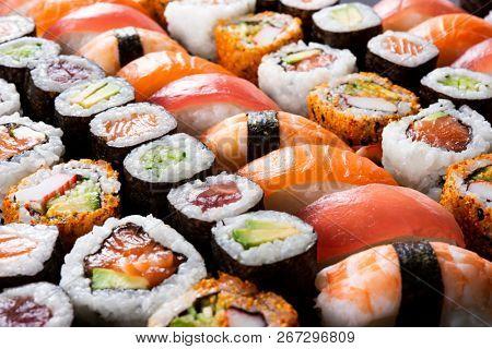 Overhead japanese sushi food Maki