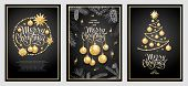 Set Of Three Card Merry Christmas And Happy New Year. Christmas Tree, Golden Glass Balls, Stars, Seq poster