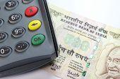 stock photo of mahatma gandhi  - Credit card reader on a 500 Indian Rupee Note - JPG