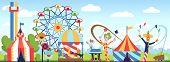 Amusement Park. Fun Park Vector Theme, Kids Carnival Entertainments Daytime, Children Amusing Attrac poster