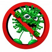 Stop Virus Sign Immunity Symbol As A Pathogen Character In A Ban Or Banned Icon As A Vaccination Or  poster