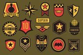 Army Badges. Usa Military Patches And Airborne Labels. American Soldier Chevrons With Typography And poster