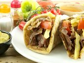 stock photo of souvlaki  - Gyros with pork meat - JPG