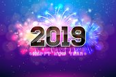 Happy New Year 2019 Illustration With Fireworks And 3d Number On Blue Background. Vector Holiday Des poster