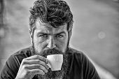 Coffee Break Concept. Man With Long Beard Looks Calm And Relaxed. Bearded Man Holds Espresso Cup, Dr poster