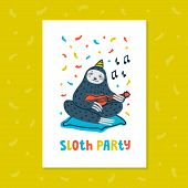 Animal Party. Lazy Sloth Party. Cute Sloth Playing Ukulele. Vector Illustration. poster