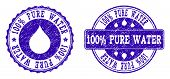 Grunge 100 Pure Water Stamp Seal Imprints. 100 Pure Water Text Inside Blue Scratched Rubber Seals Wi poster