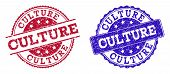 Grunge Culture Seal Stamps In Blue And Red Colors. Stamps Have Distress Style. Vector Rubber Imitati poster