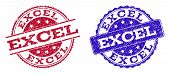 Grunge Excel Seal Stamps In Blue And Red Colors. Stamps Have Draft Style. Vector Rubber Imitation Wi poster