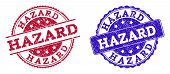 Grunge Hazard Seal Stamps In Blue And Red Colors. Stamps Have Distress Style. Vector Rubber Imitatio poster