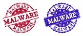 Grunge Malware Seal Stamps In Blue And Red Colors. Stamps Have Draft Style. Vector Rubber Imitation  poster